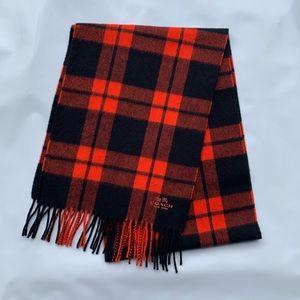 Coach Mount Plaid Scarf Wool Cashmere